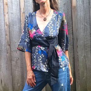 Tibi Silk Kimono Style Wrap Top